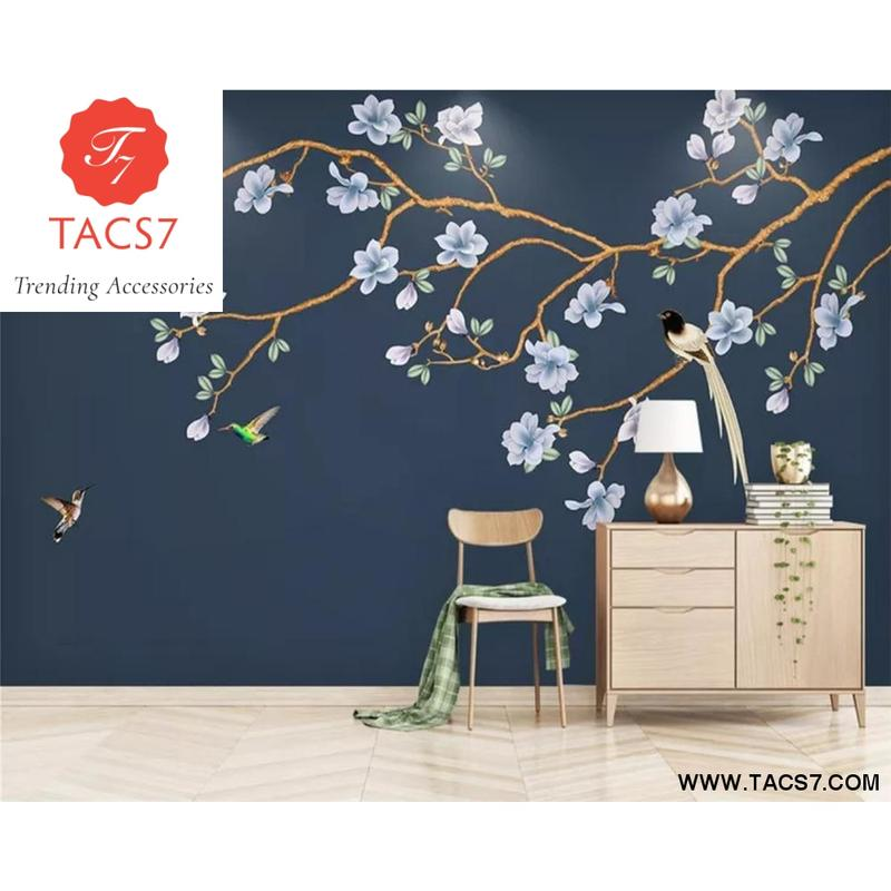 Chinese hand painted modern flowers birds magnolia flower 800x800