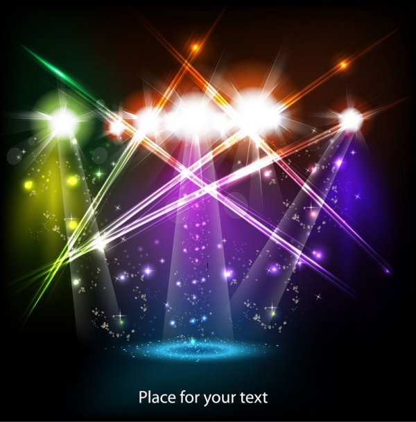 Stage neon light elements vector background   Vector Background 600x609