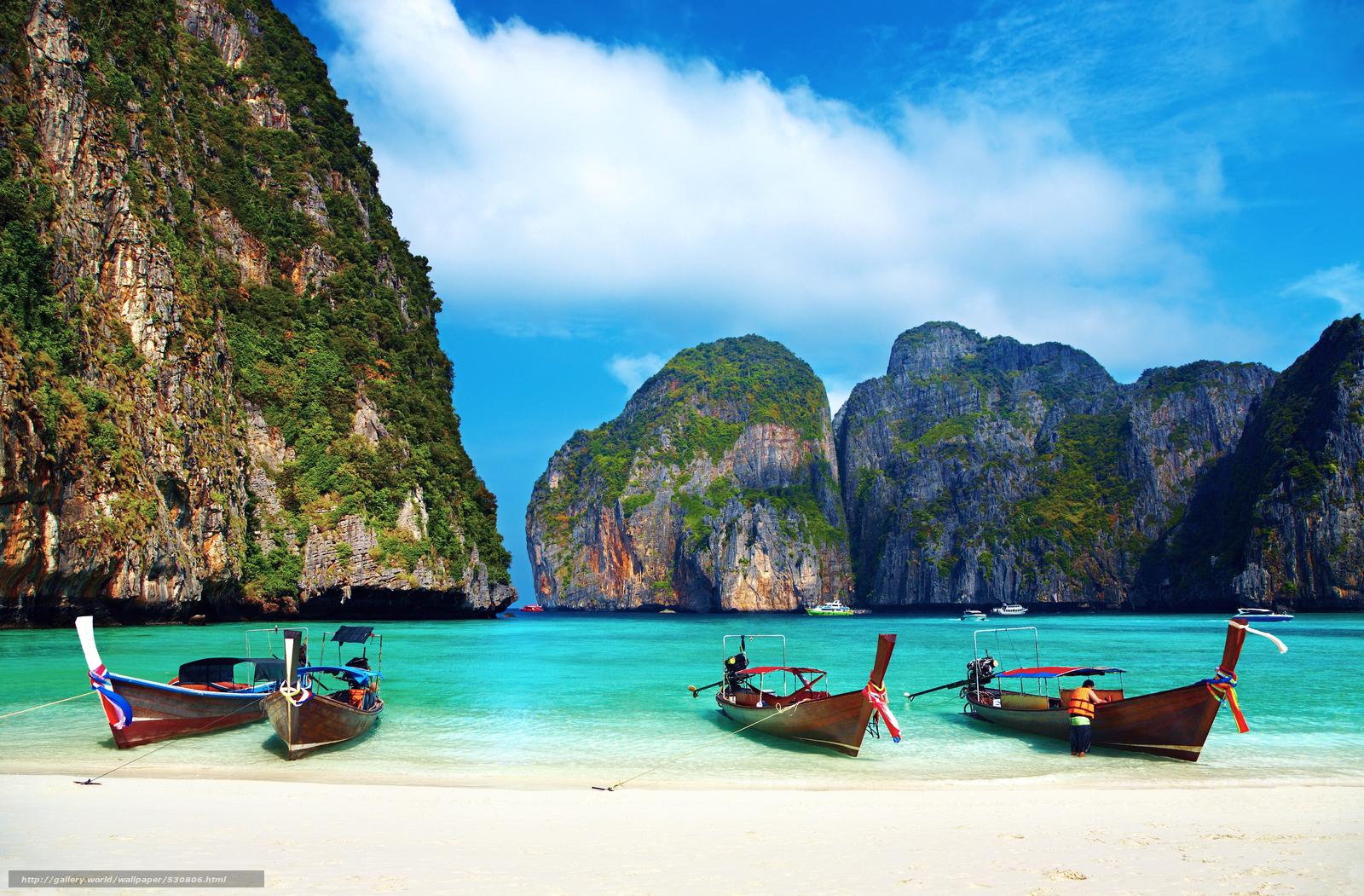 Download wallpaper thailand tropics beach Boat 1600x1051