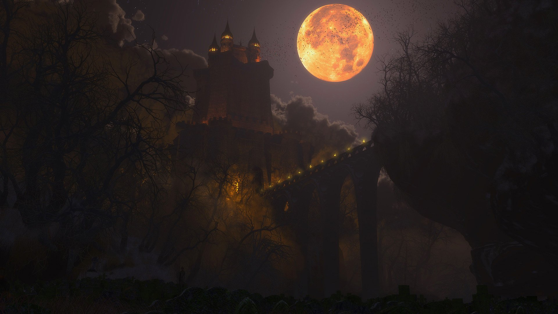 Halloween Haunted Castle Background Gallery Yopriceville   High 1920x1080