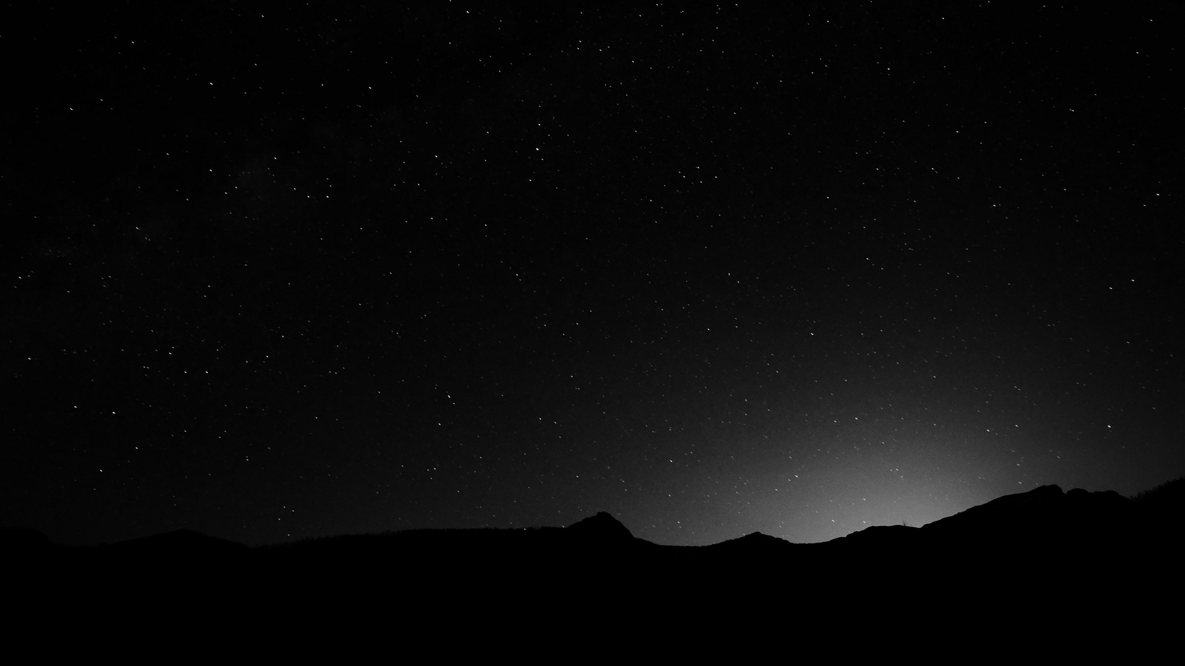 Night Sky over the Mountains Black White 4K Wallpaper 3840x2160