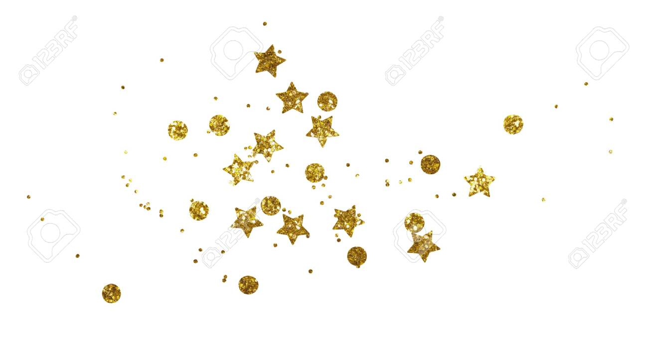 Scattered Golden Seqines And Stars Isolated On White Background 1300x685