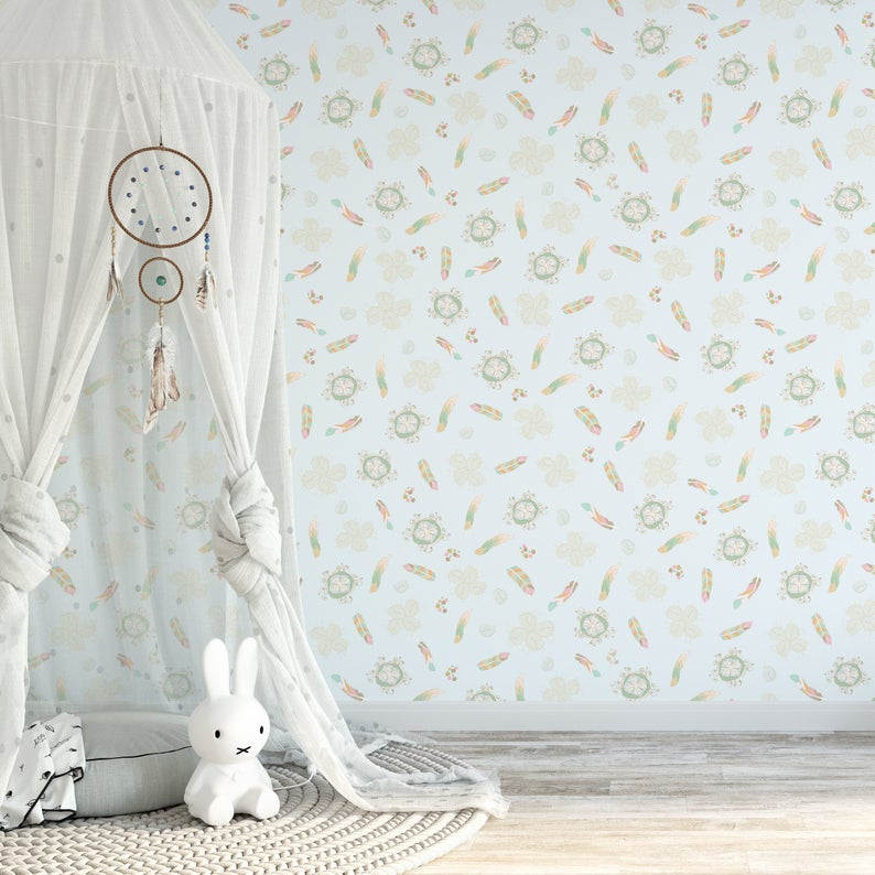 Light Blue Wallpaper Feather Wallpaper Boho Wallpaper Boho Etsy 794x794