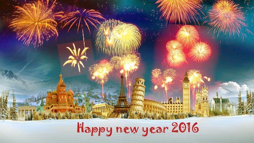 D Happy New Year wallpaper 1024x576