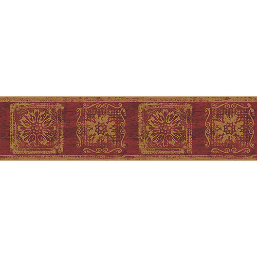 Blue Mountain Gold Contemporary Wallpaper Border Burgundy and Gold 500x500