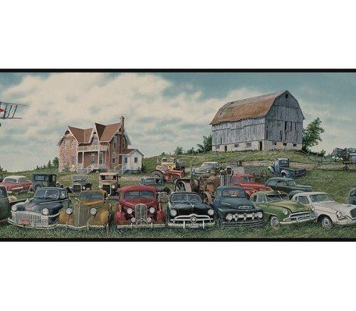 Junkyard Field of Cars Wallpaper Border   Black Edge 500x437