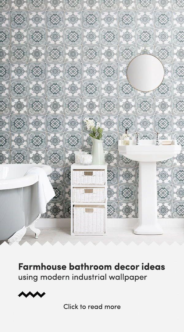 Light Green Portuguese Tile Effect Wallpaper DIY Farmhouse Decor 600x1080