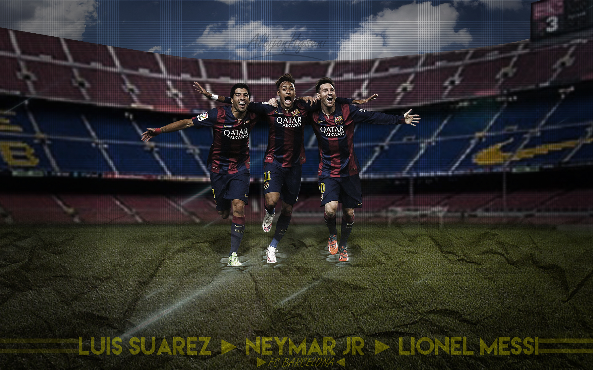 MESSI SUAREZ NEYMAR Wallpaper by AlbioNN2 1920x1200
