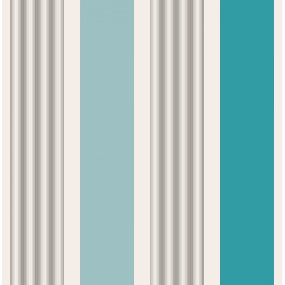 Blue stripe wallpaper ebay - Mangum Striped Designer Feature Wallpaper Teal Silver White Ebay
