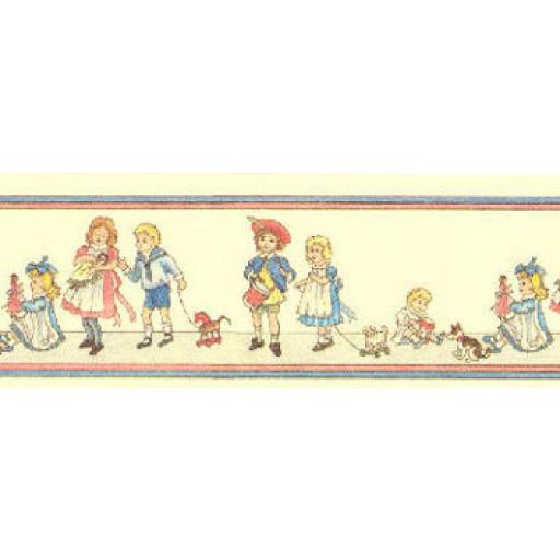 Inch Scale Dollhouse Miniature   Wallpaper Border On Dark Cream JM52B 512x512