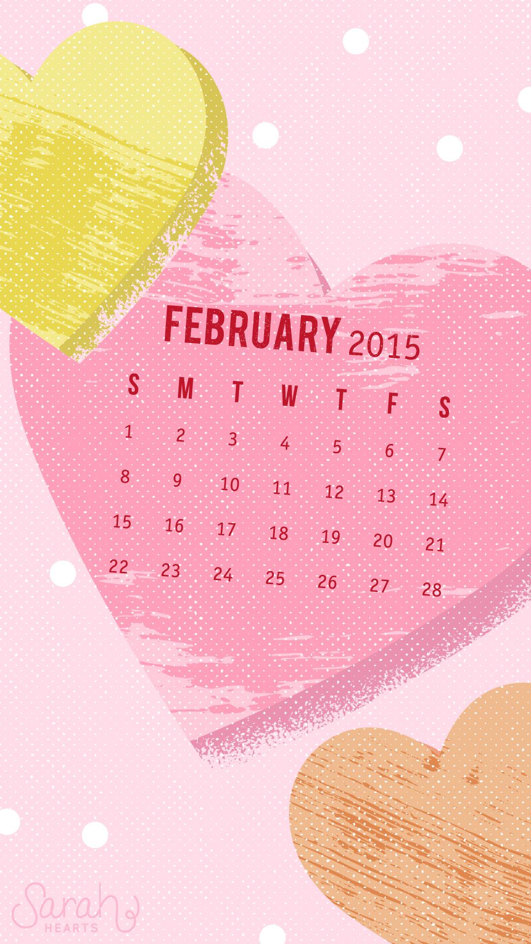 February 2015 Calendar Wallpaper   Sarah Hearts 1080x1920