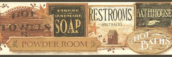 wallpaper border bathroom on All Bathroom Signs Wallpaper Border 599x199