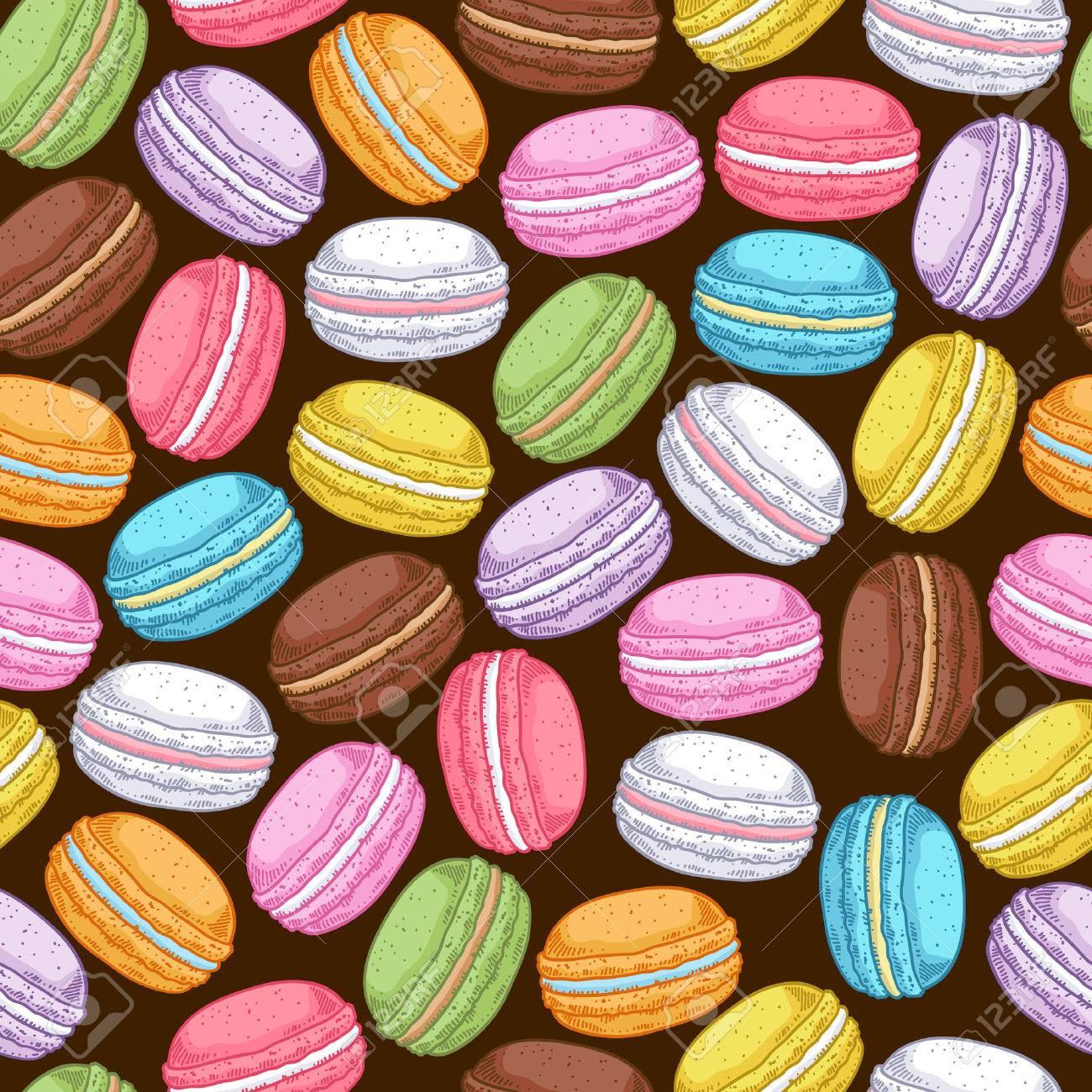 Seamless Assorted Macarons Pattern Macaroon Background   Dark 1300x1300