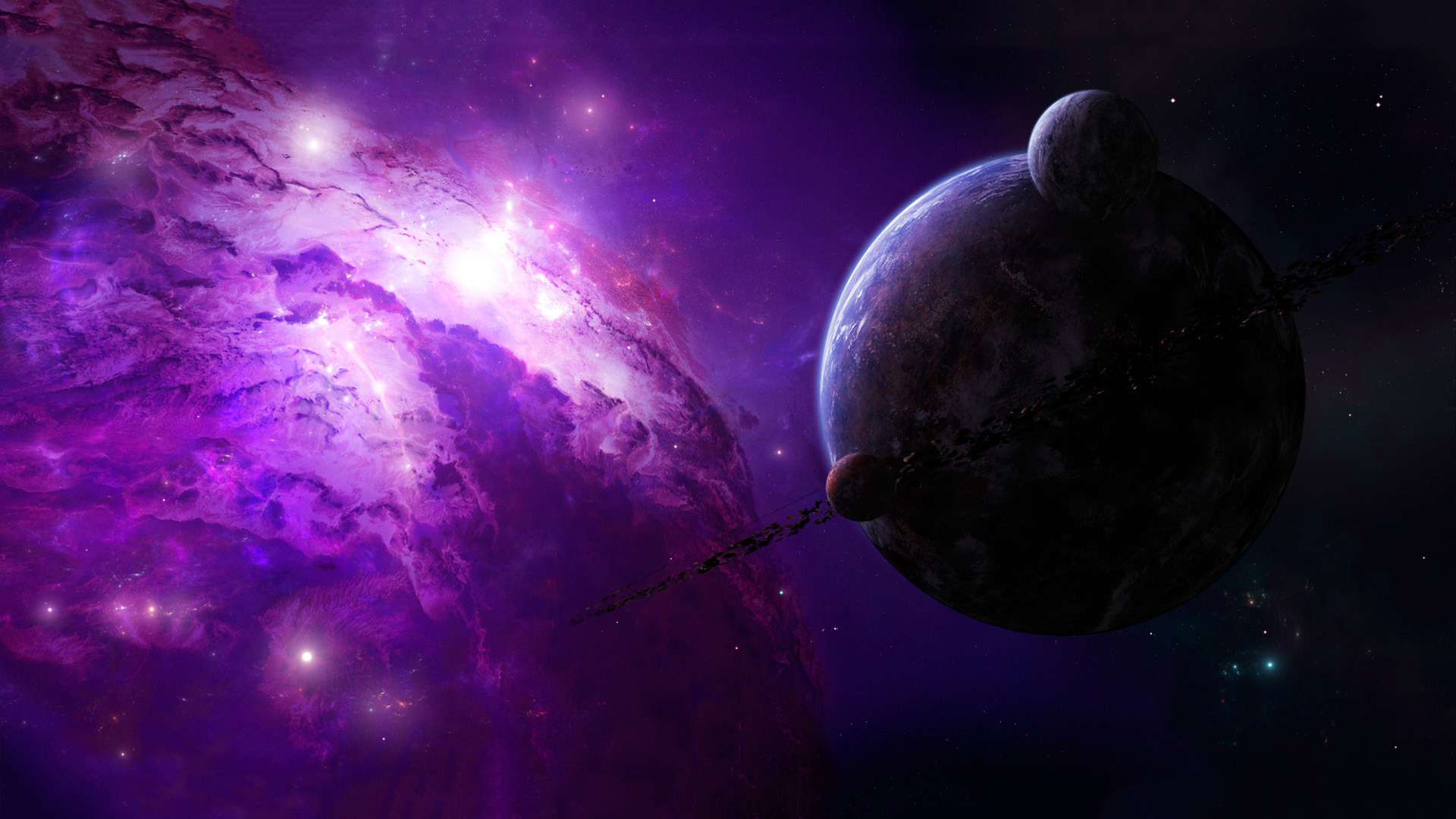 Download 1920x1080 HD Wallpaper planet violet nebula amazing 1920x1080