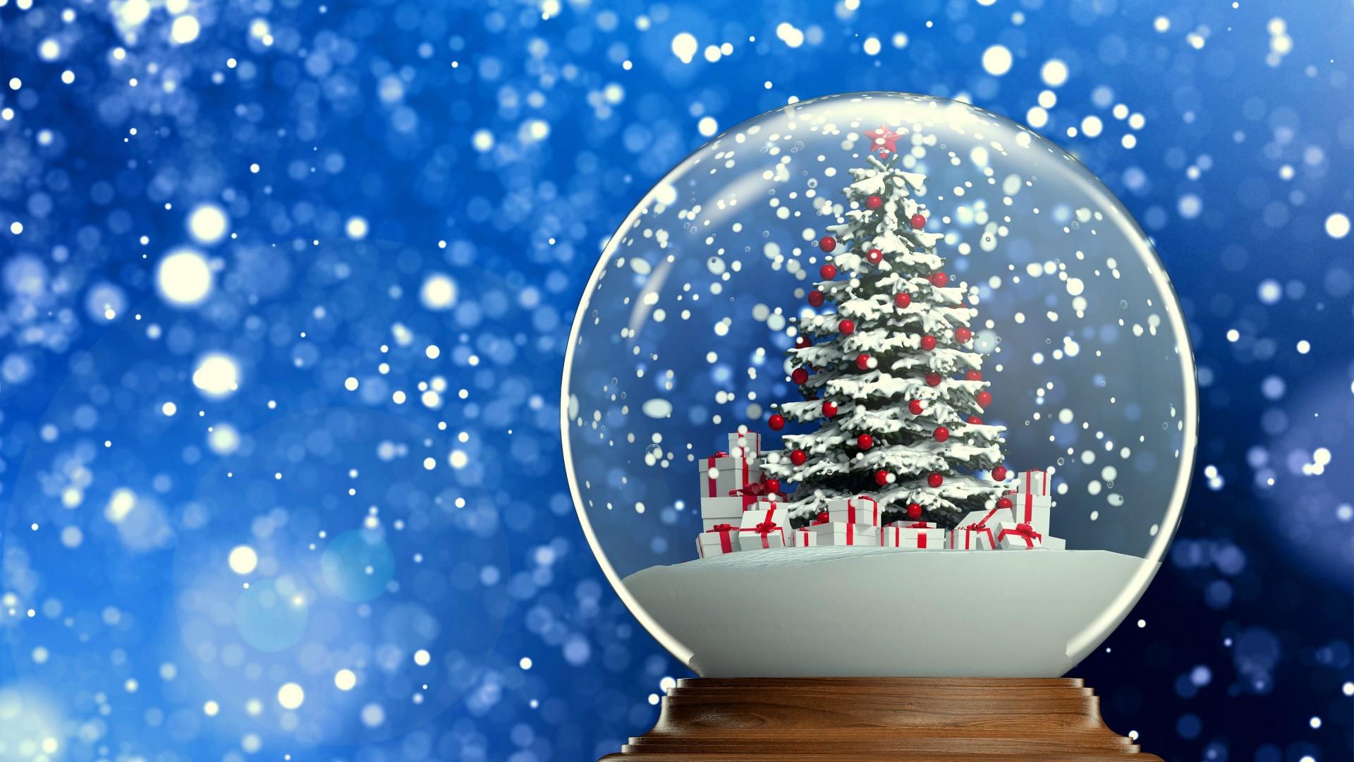 Free Download Winter Snow Globe Christmas Tree Hd Wallpaper