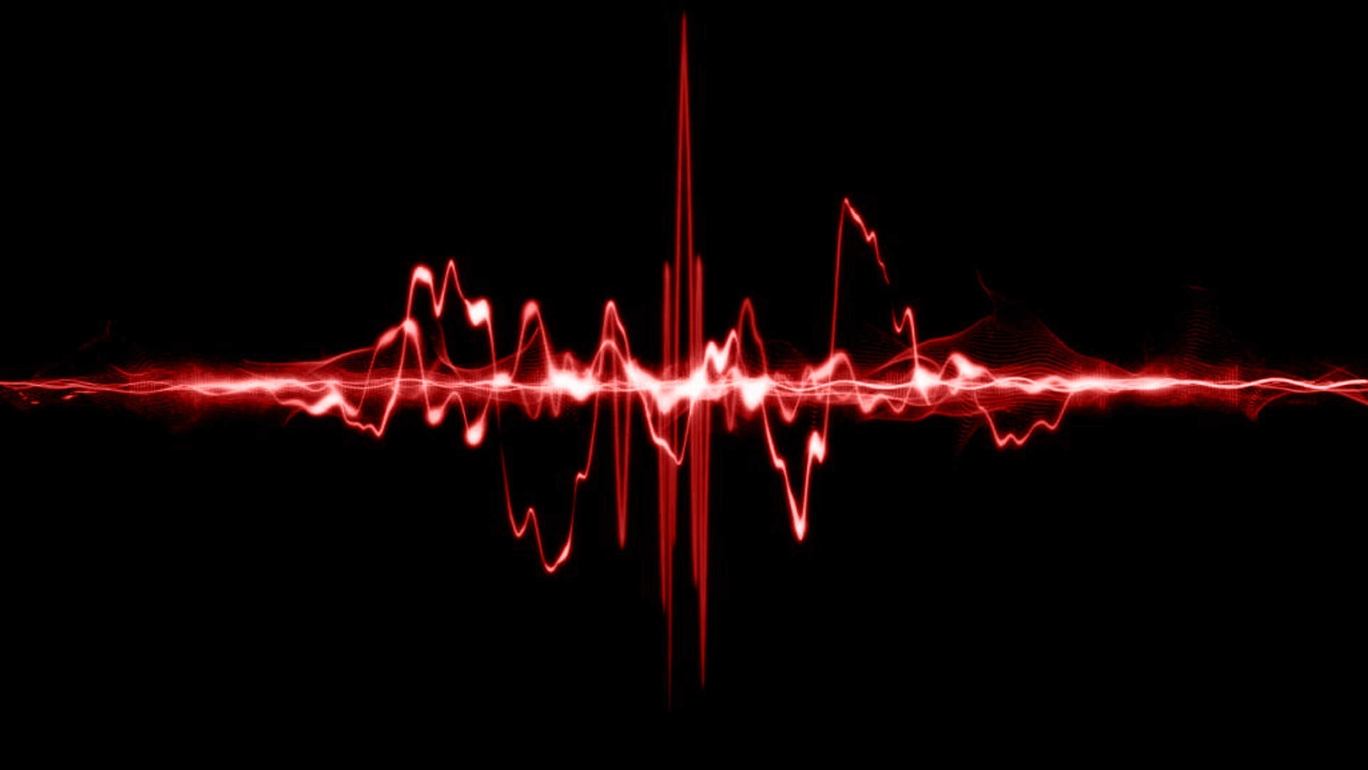Red sound waves wallpaper 14398 1920x1080