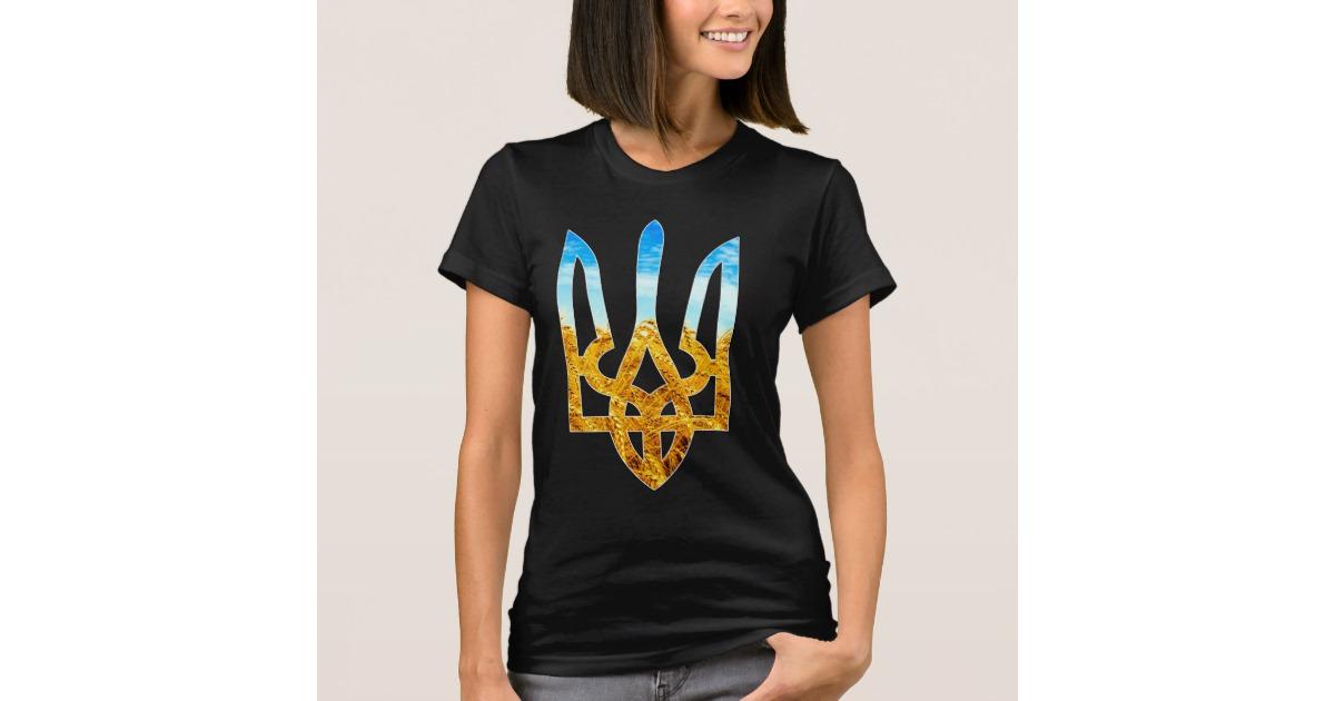 Ukrainian tryzub background of wheat and blue sky T Shirt Zazzlecom 1200x630