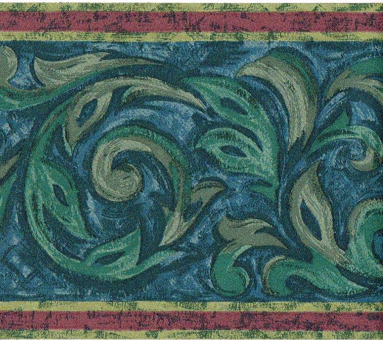 Blue Grey Art Deco Acanthus Leaf Scroll Red Stripe Wall paper Border 783x696