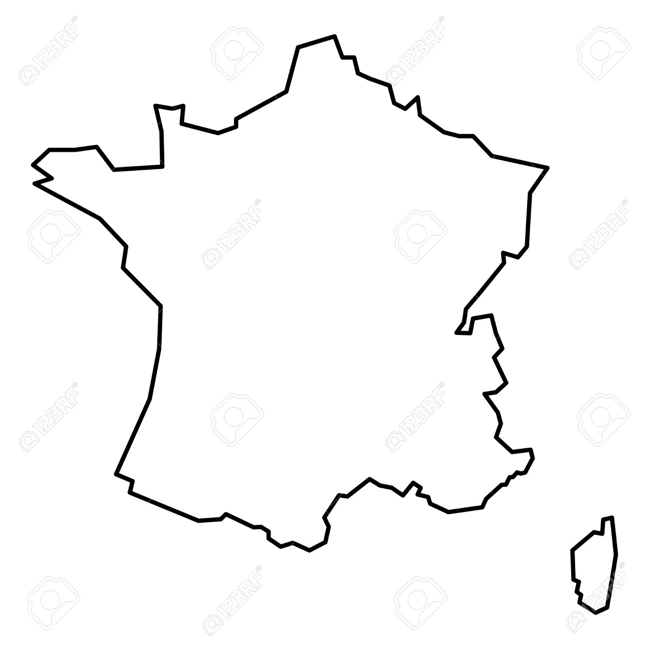 Simple Contour Map Of France Black Outline Map Isolated On White 1300x1300