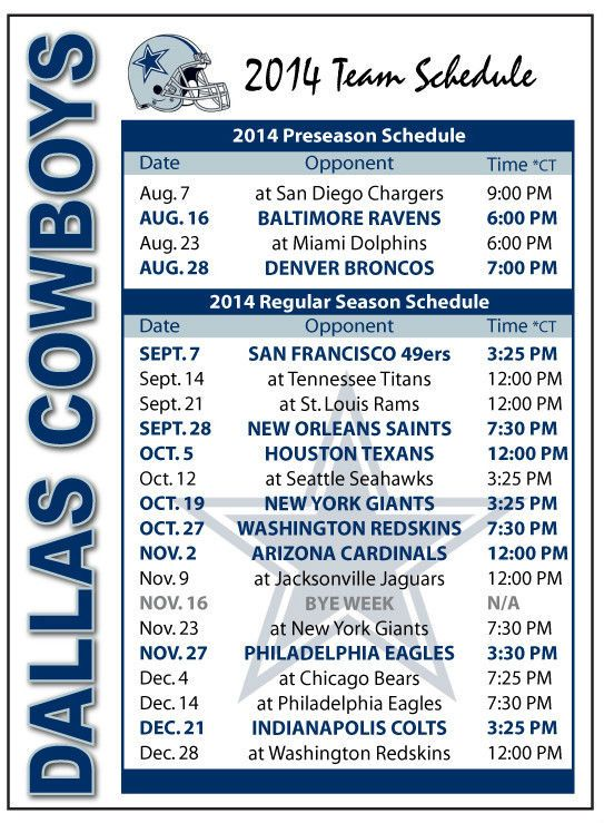 Dallas Cowboys Schedule 2014 2015 Dallas Cowboys 2014 2015 543x739