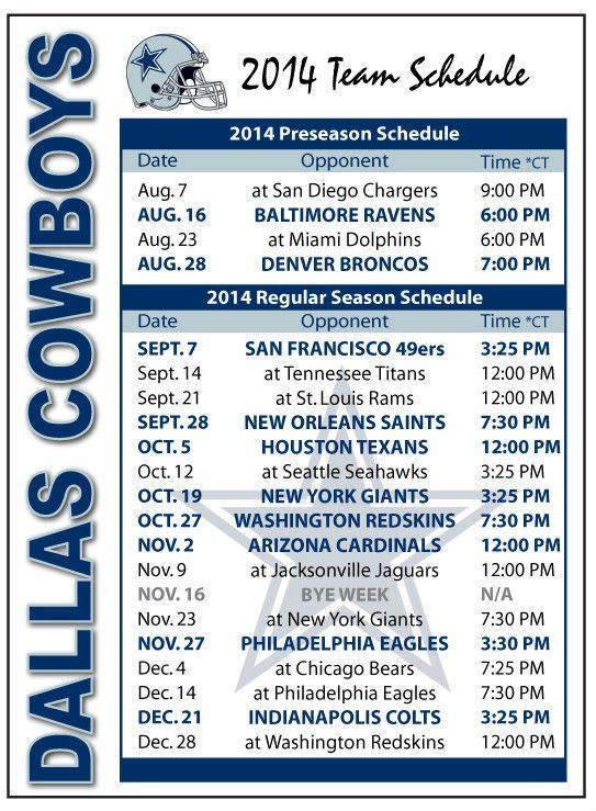 Dallas Cowboys Schedule 2014 2015 Dallas Cowboys 2014 2015 543x739