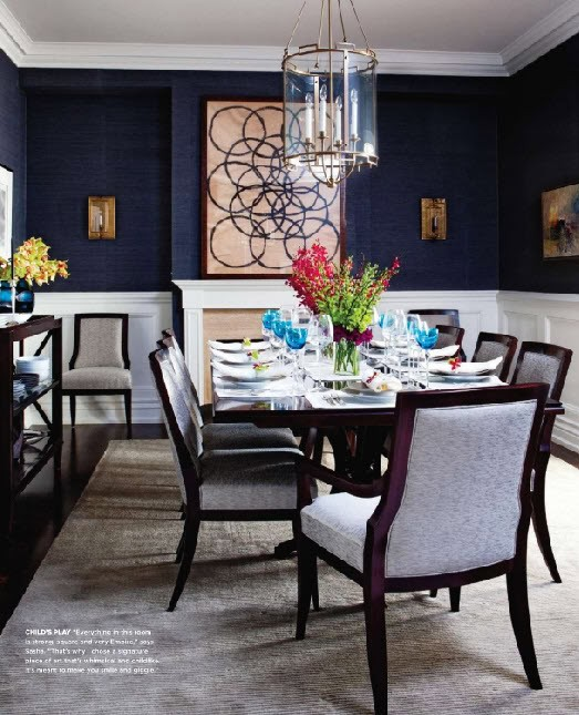 The Gorgeous Deep Blue Gr Cloth Wallpaper Creates A Rich Masculine For Dining Room