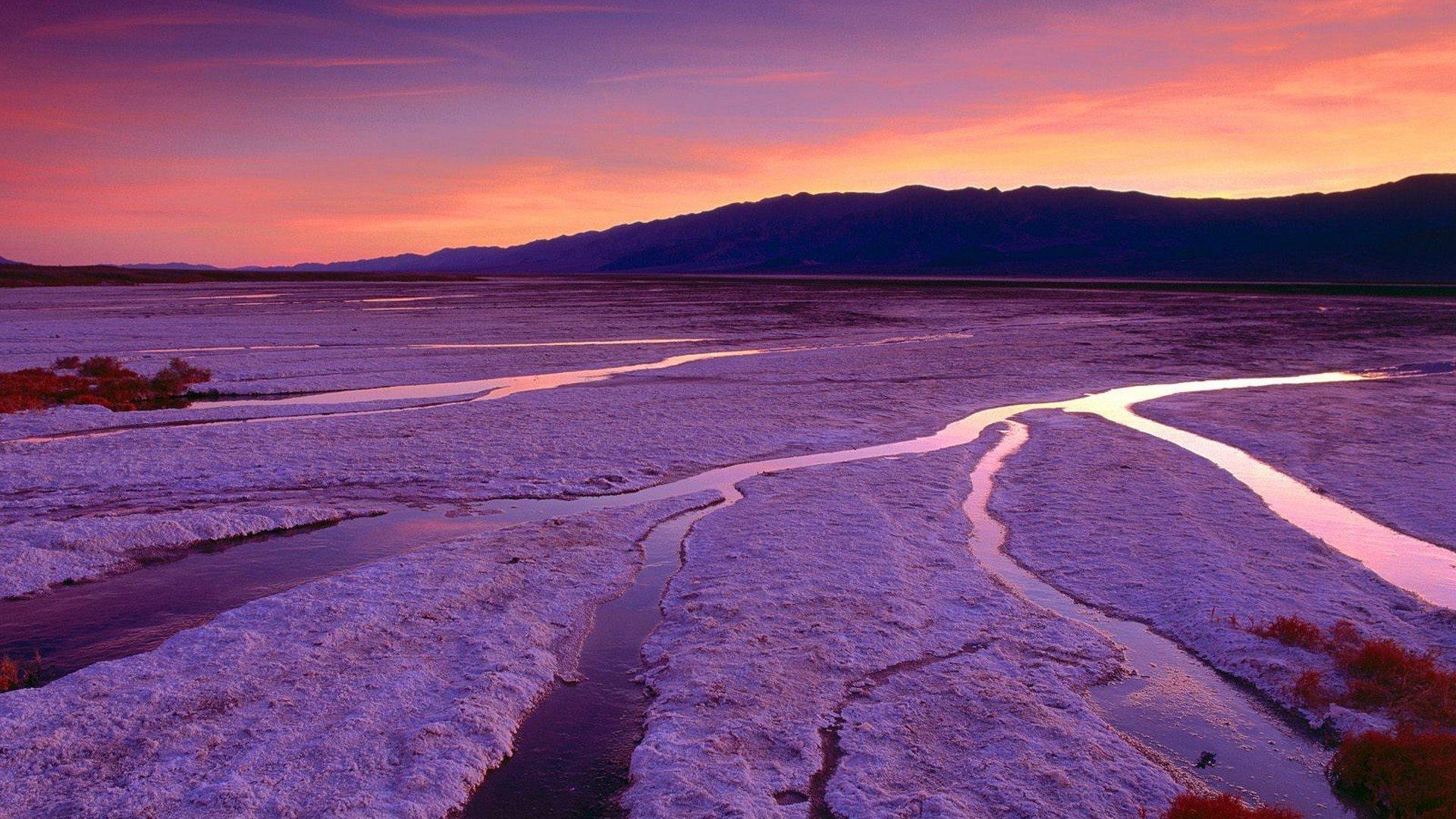 Sunset mountains California Death Valley salt flats wallpaper 1920x1080