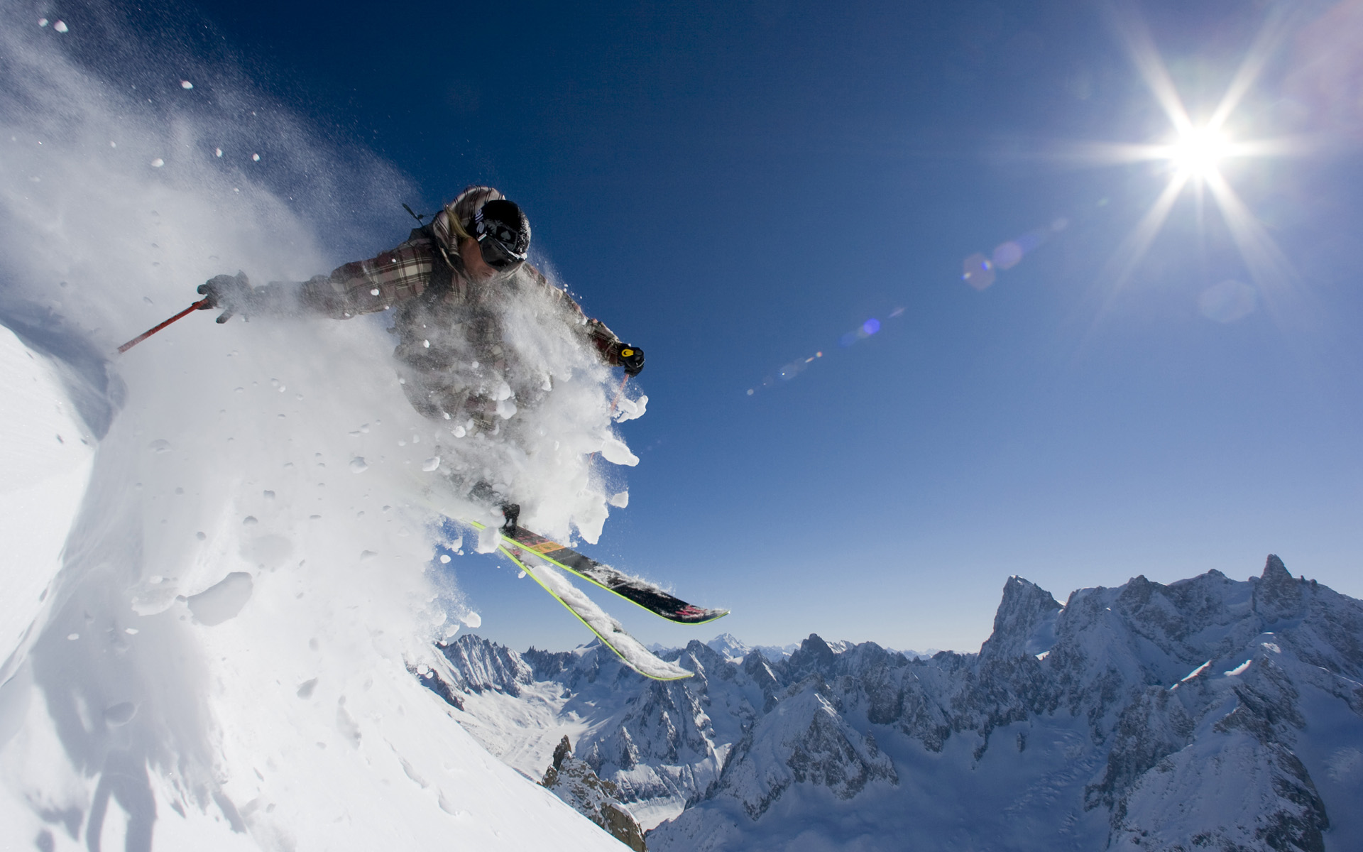 Лыжник прыжок горы небо  № 3308969  скачать