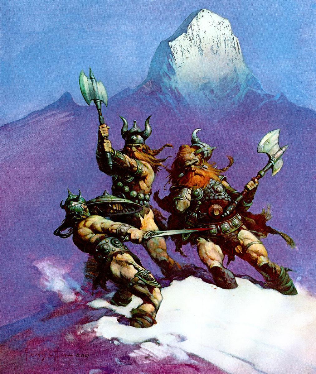 Images Frank Frazetta Battle axes Man Warriors Fight Fantasy 1013x1200