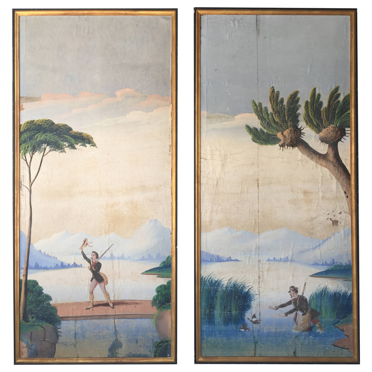 Pair of 1830s Hand Painted Italian or French Scenic Wallpaper Panels 1280x1280