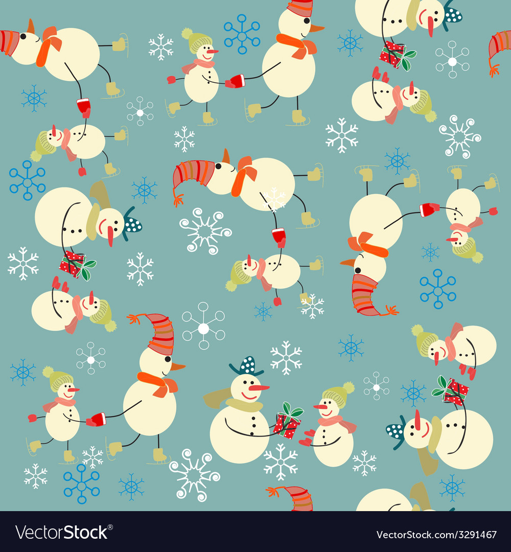 Christmas background with snowman Royalty Vector Image 1000x1080