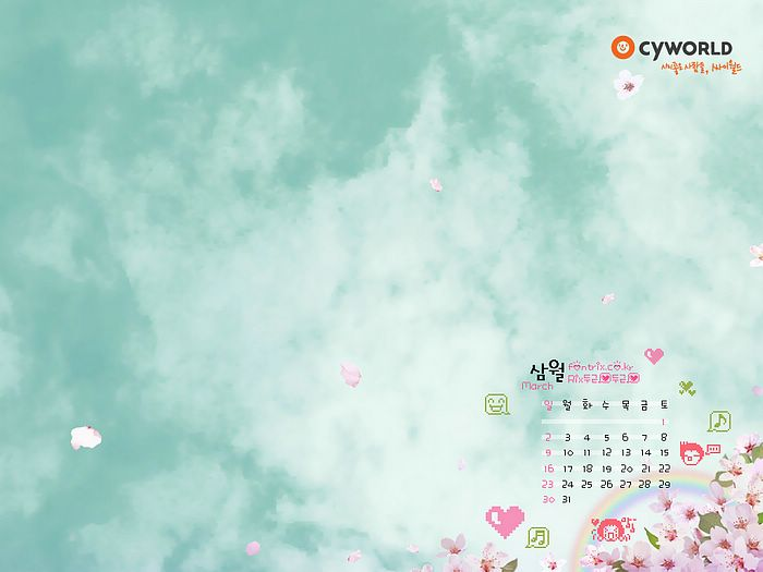 March Desktop Calednar Wallpaper 2008 Anime CG wallpaper calendar for 700x525