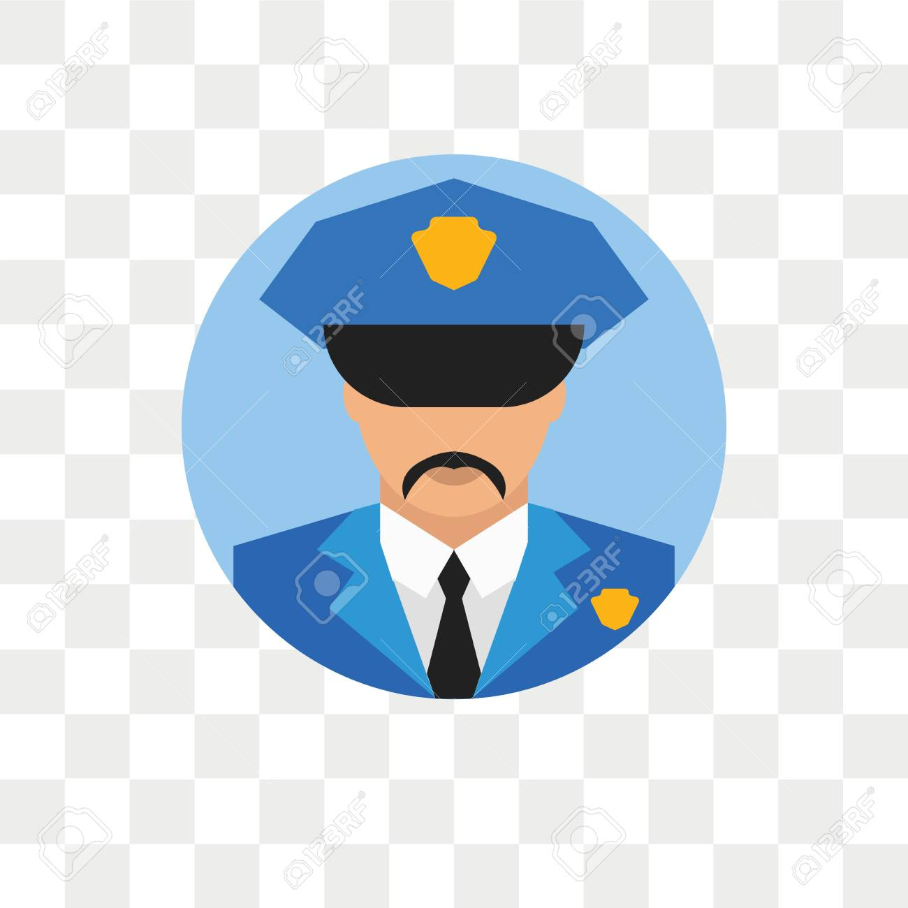 Policeman Vector Icon Isolated On Transparent Background 1300x1300