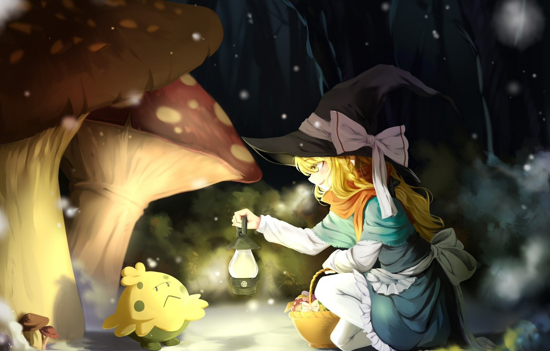 Wallpaper forest snow night mushrooms meeting mushroom scarf 1332x850