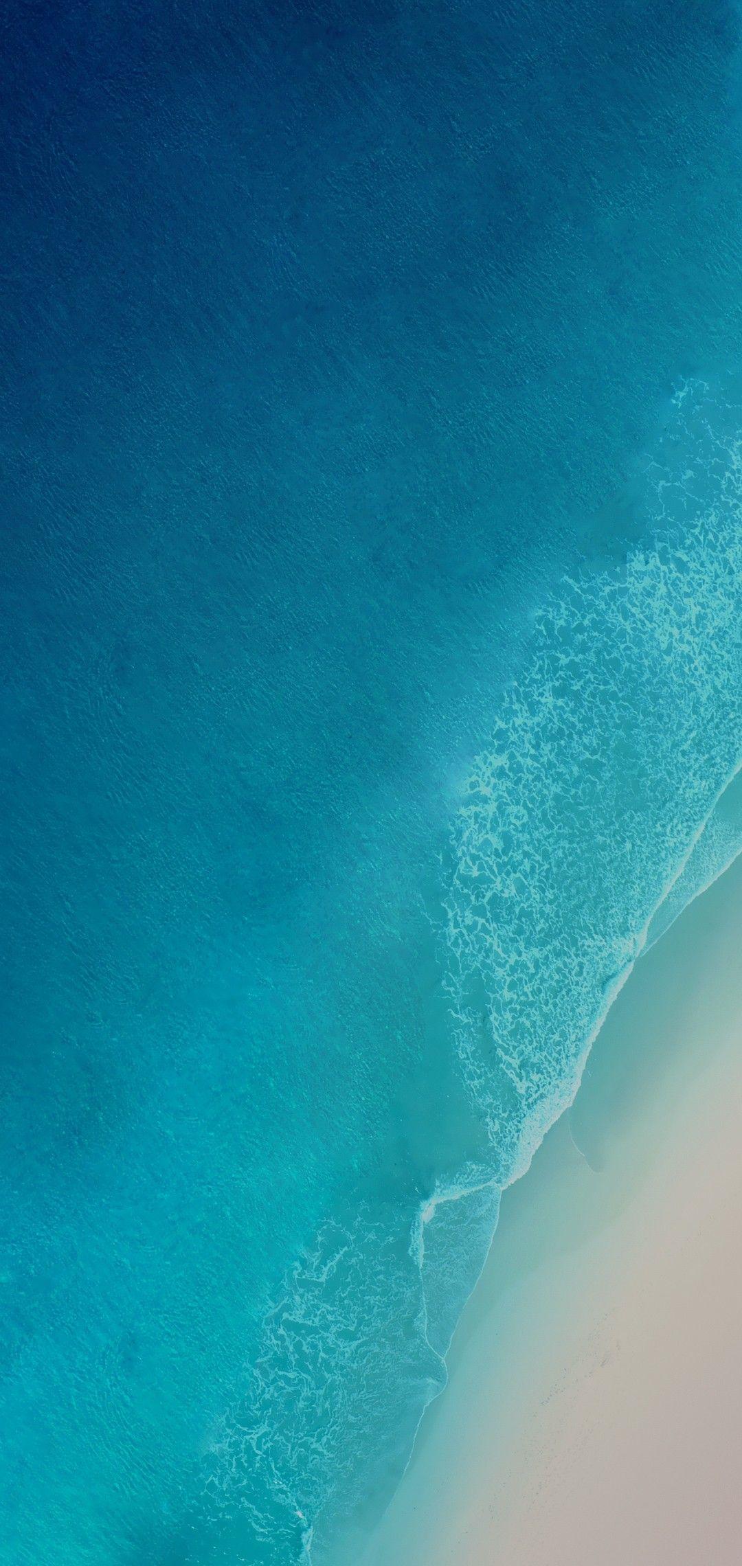 iOS 12 iPhone X Aqua blue Water ocean apple wallpaper 1080x2280
