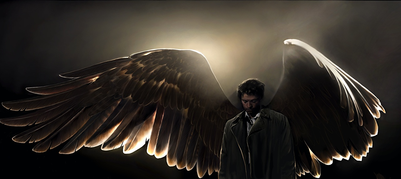 Wallpaper Supernatural Man Wings Castiel angel Movies Celebrities 1280x573
