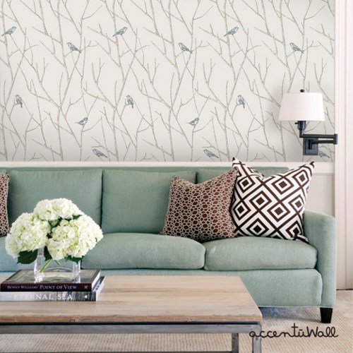 Branch Birds Blue Peel and Stick Fabric Wallpaper Repositionable 500x500