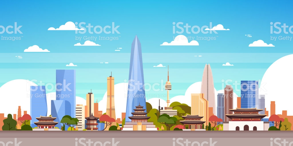 Seoul City Background South Korea Skyline View With Skyscrapers 1024x512