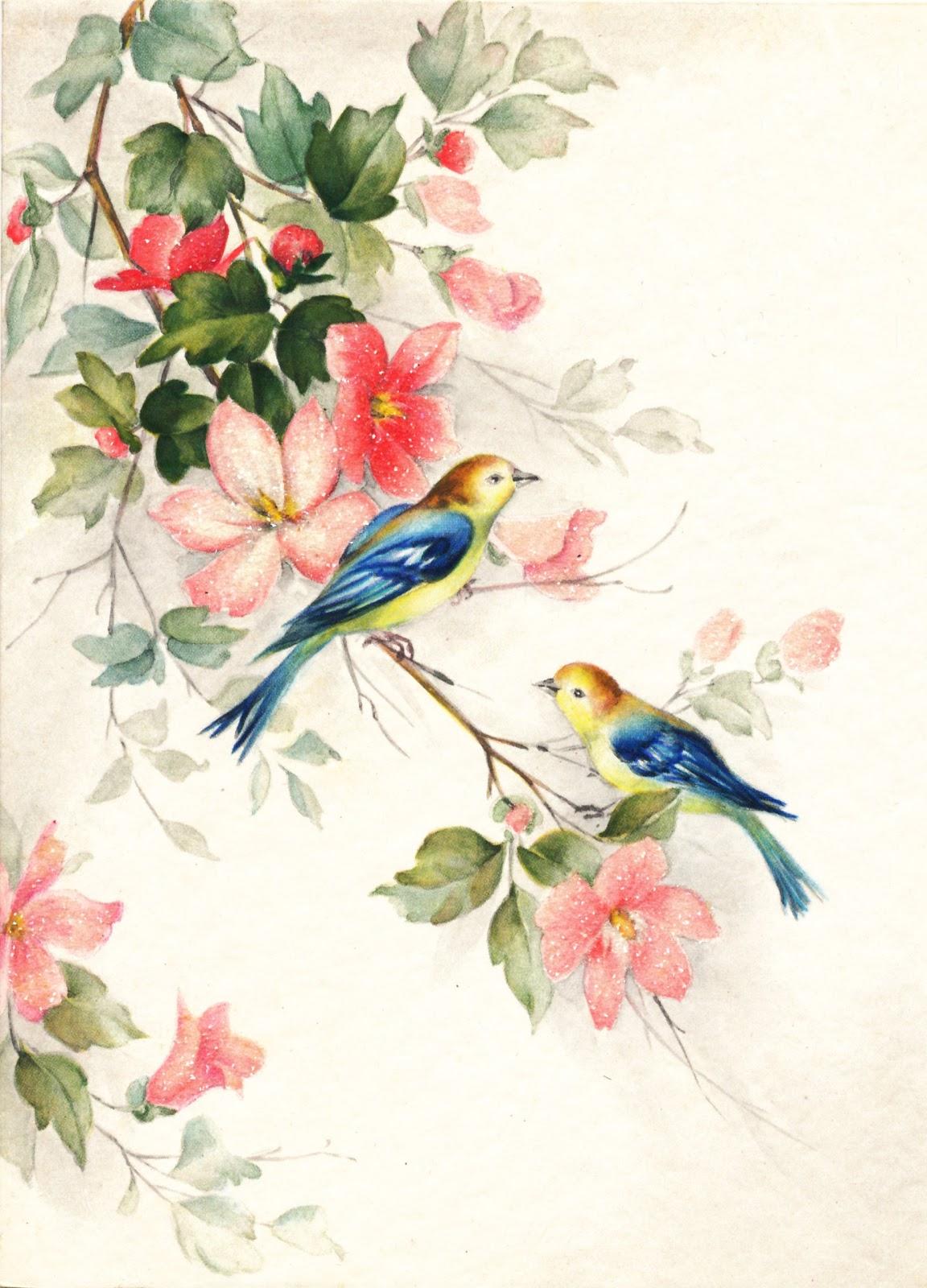 Открытка с птицами и с цветами, выпускной