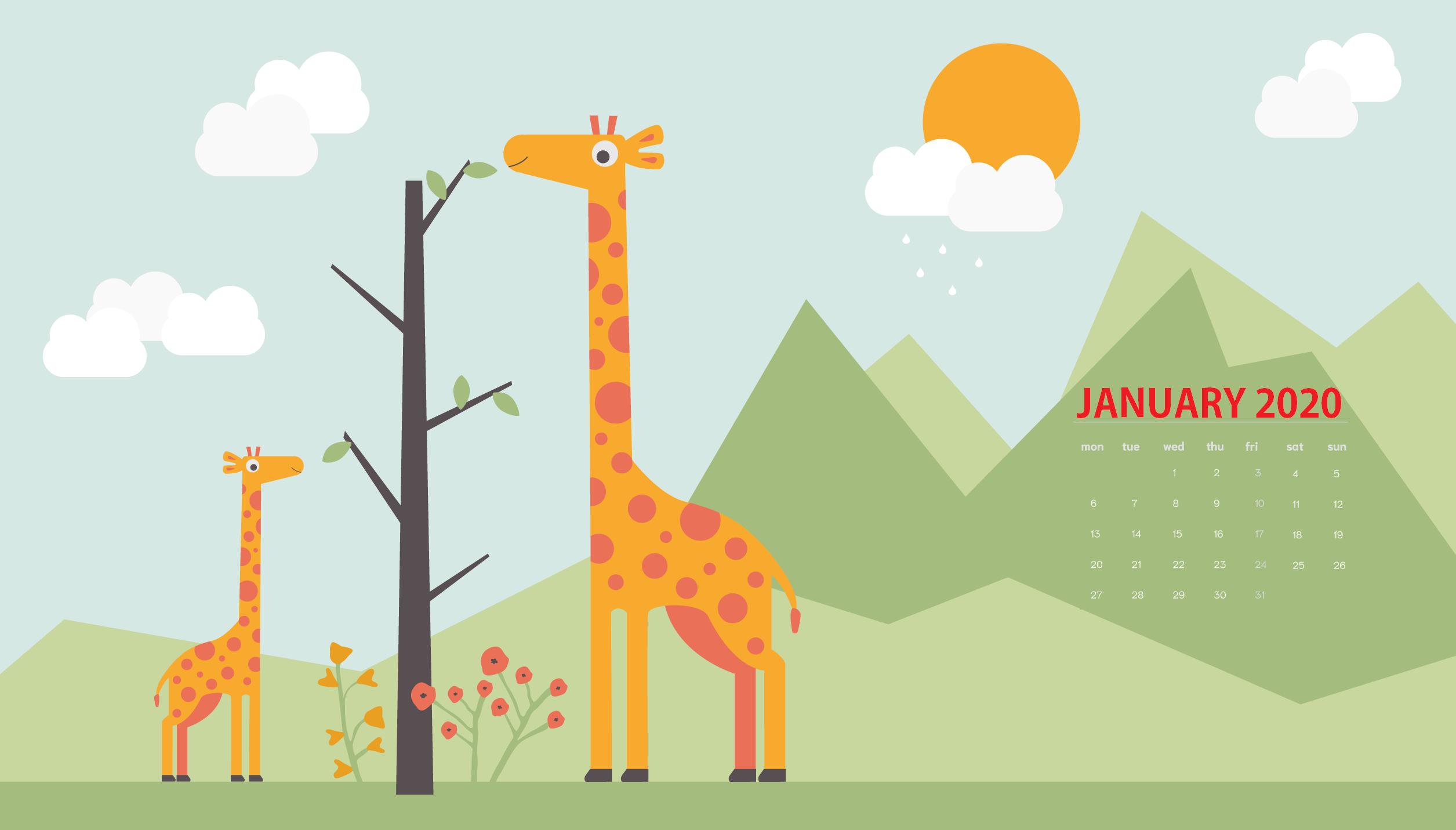 January 2020 Desktop Wallpaper Calendar 2019 2511x1431