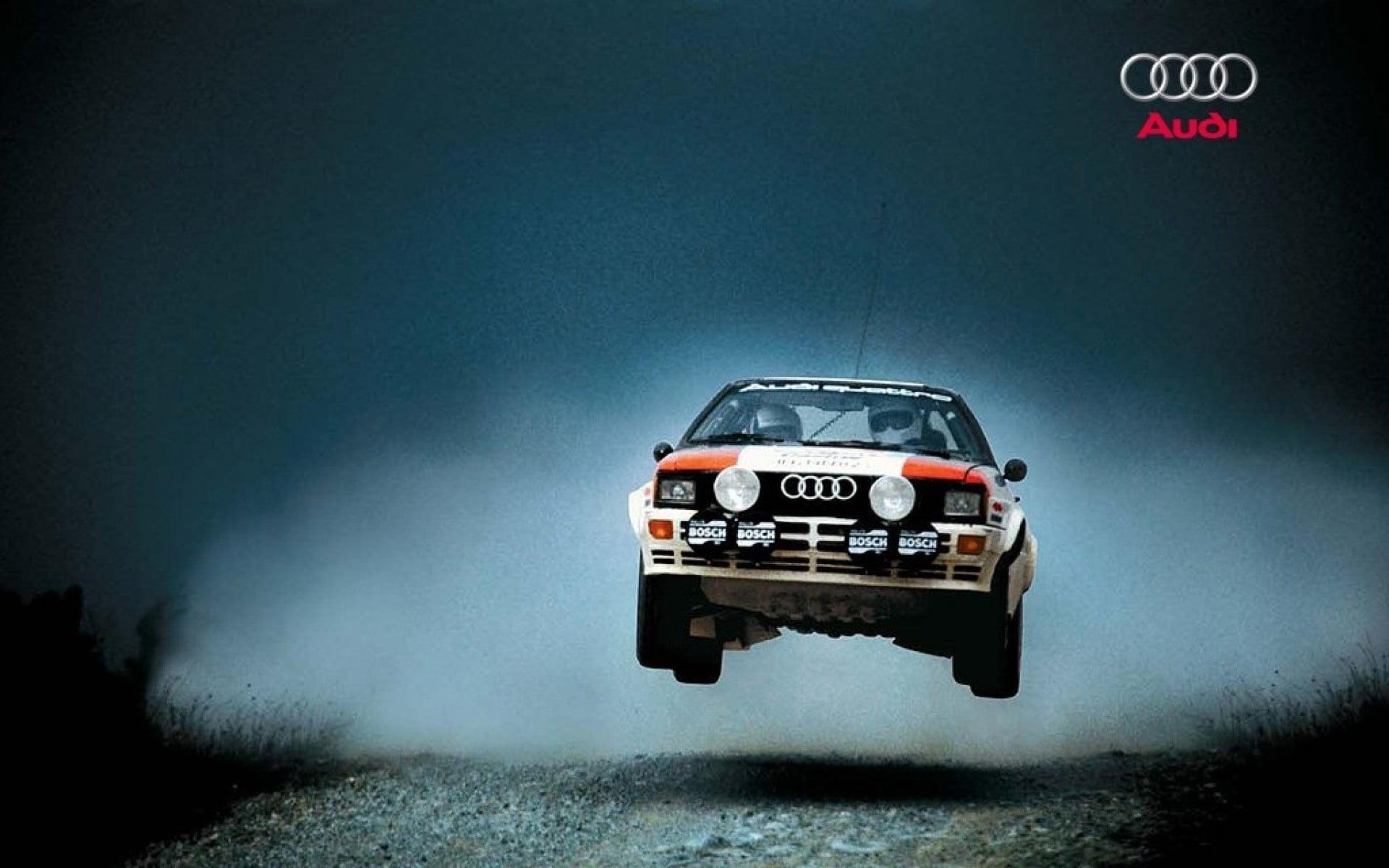 White and orange Audi car audi quattro car rally cars sports 1920x1200