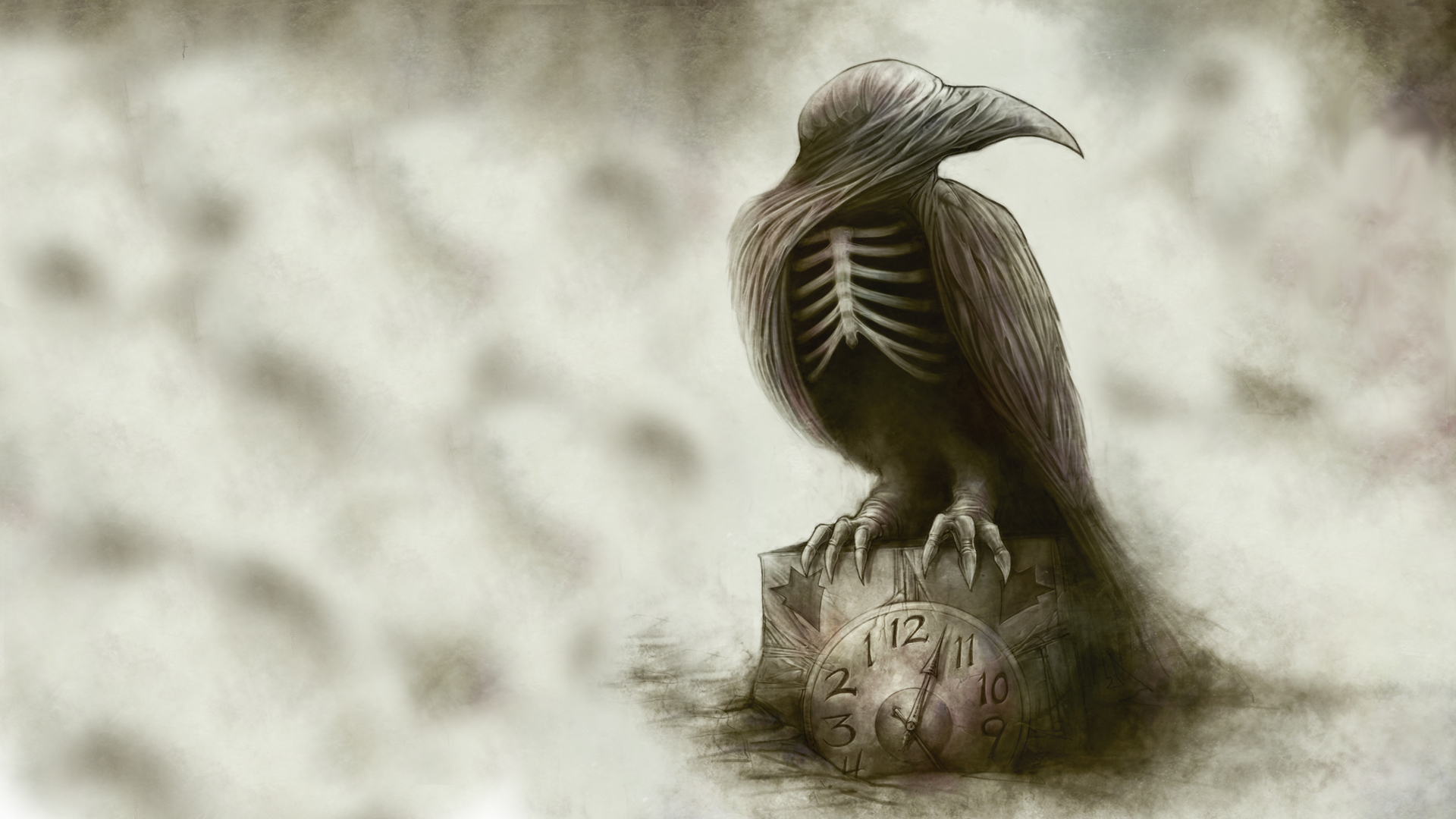Bird Clock Drawing Abstract Creepy Skeleton poe raven gothic dark 1920x1080