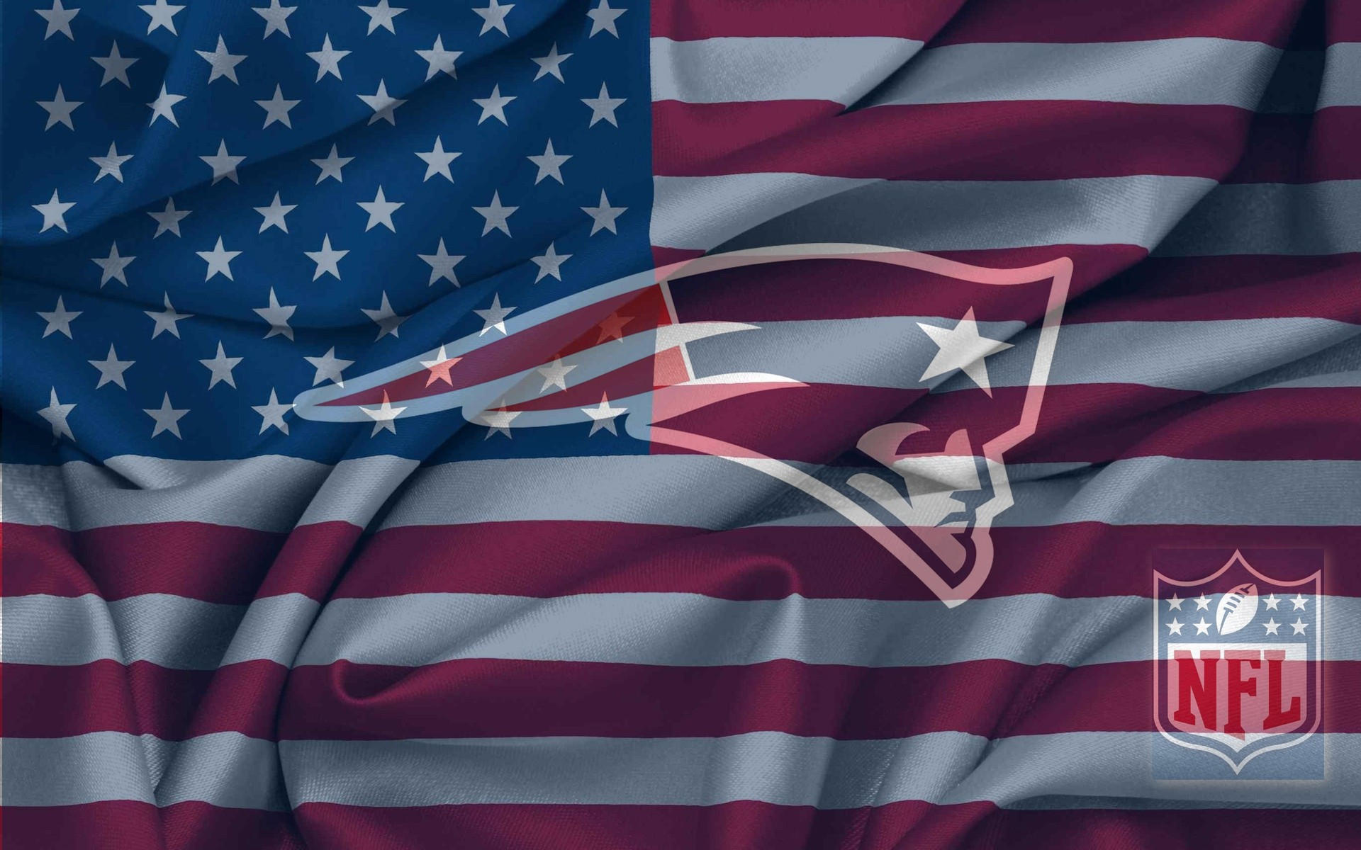 New England Patriots Logo With NFL Logo On USA Flag Wavy Canvas 1920x1200