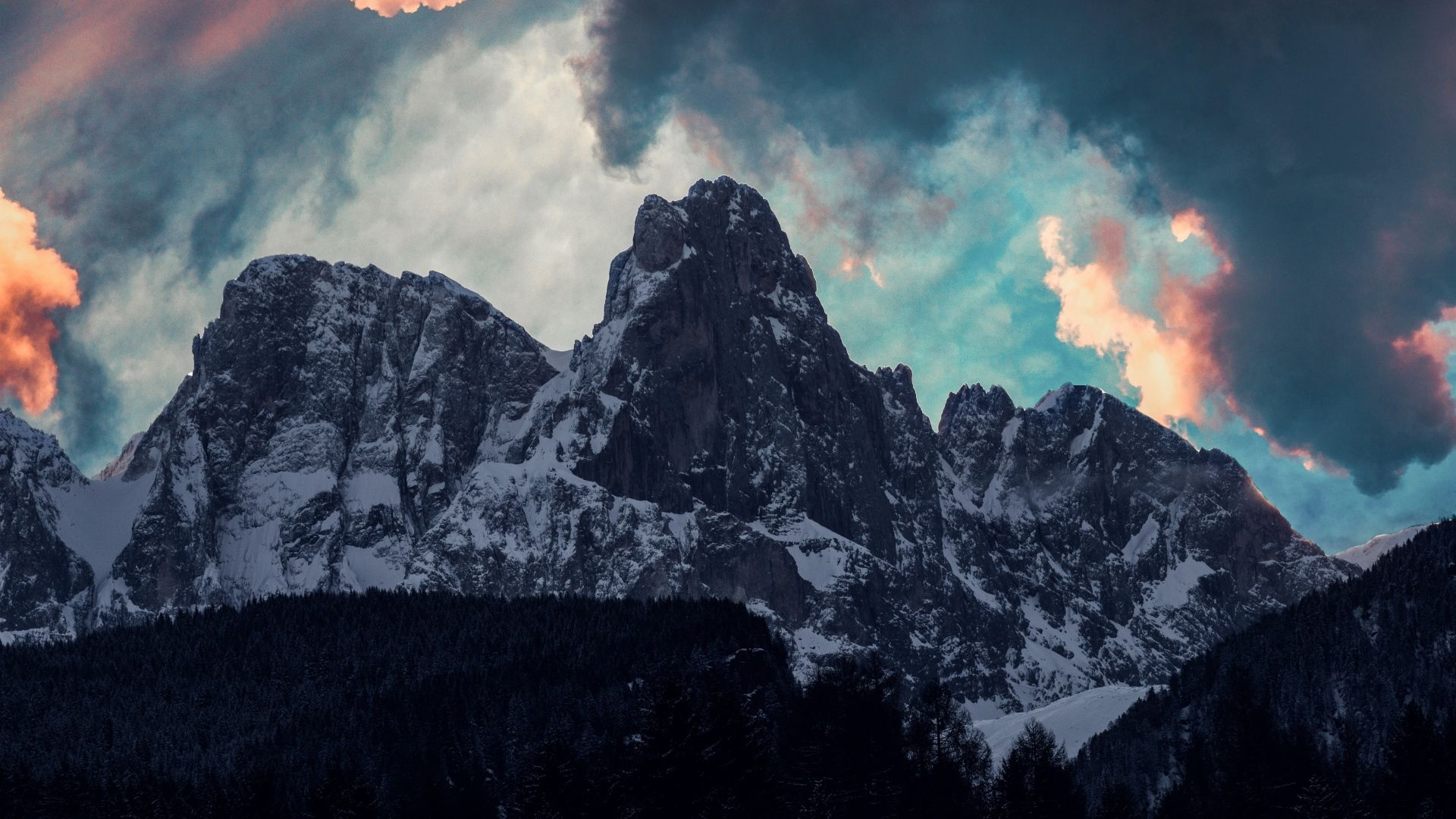 Download Wallpaper 1920x1080 Mountains Clouds Trees Snow Full 1920x1080
