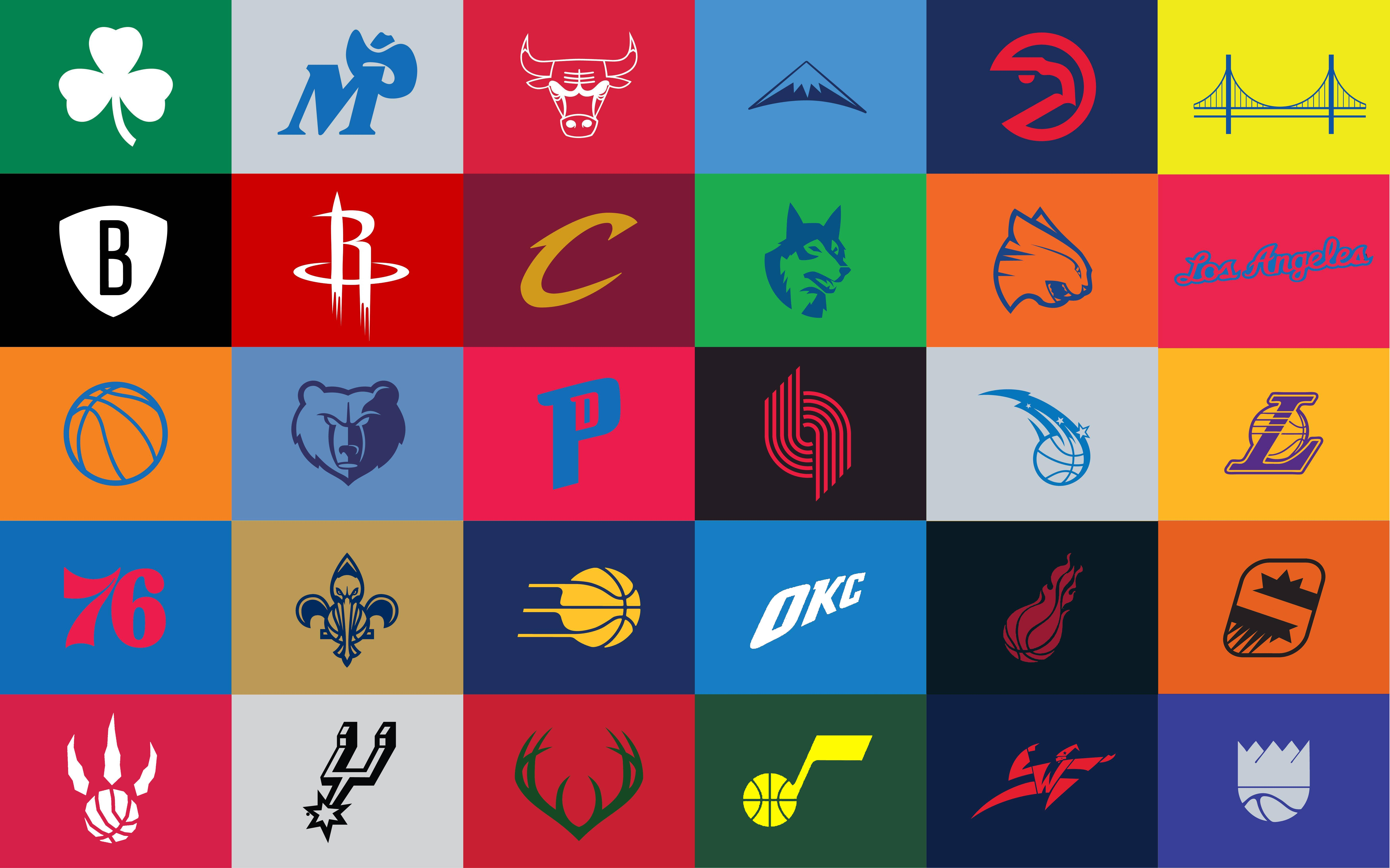 made a few adjustments to the minimalist NBA logos wallpaper made by 7002x4376
