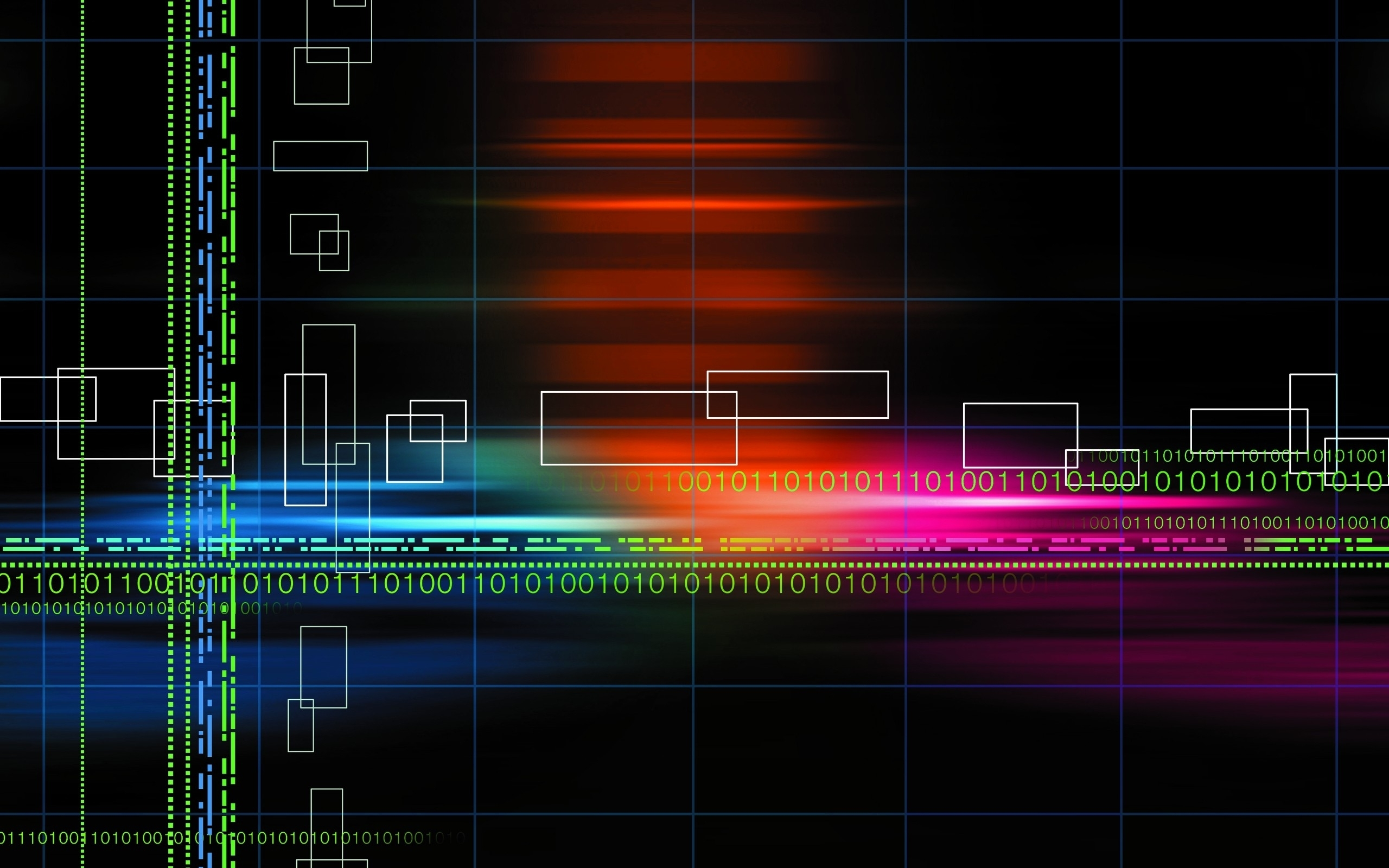 Wallpaper: Abstract multicolor binary grid numbers black background