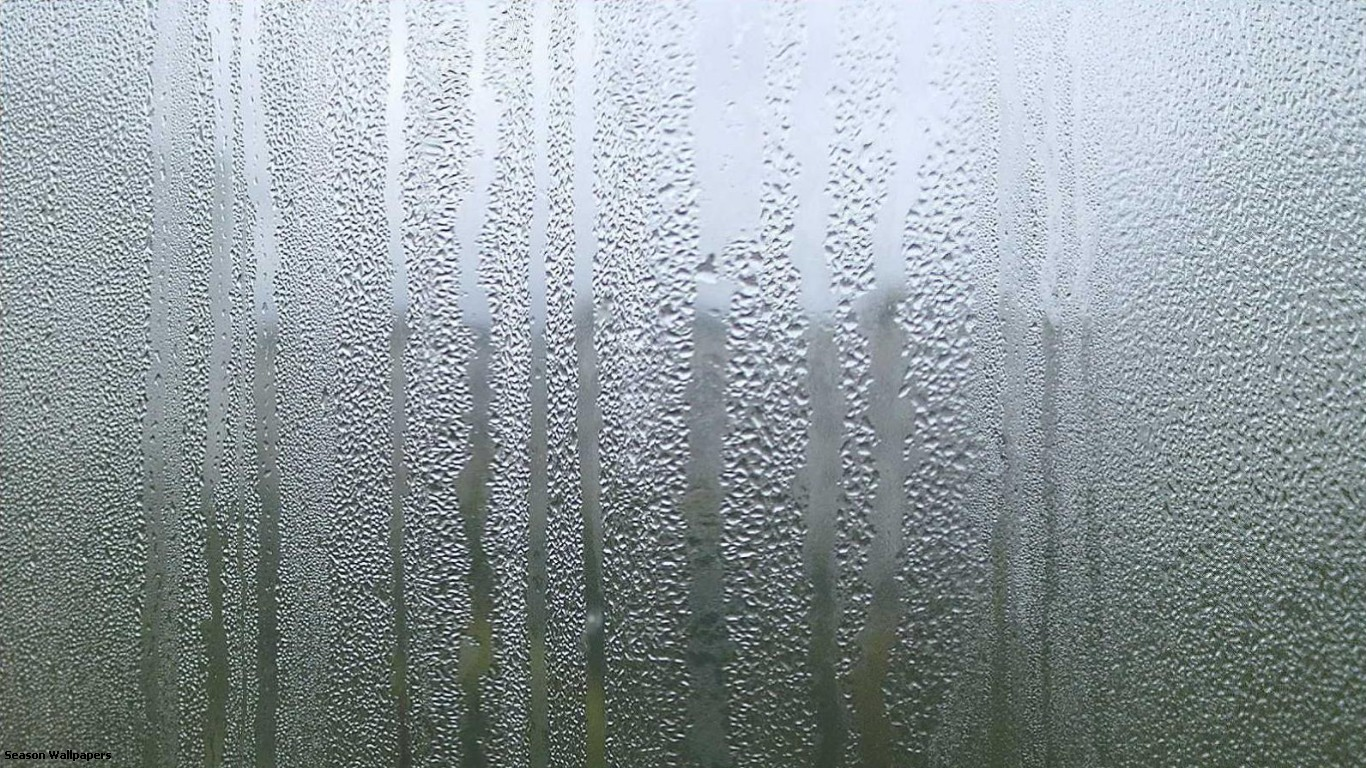 Rain Outside The Window And Drops Of Water Drips On 1366x768