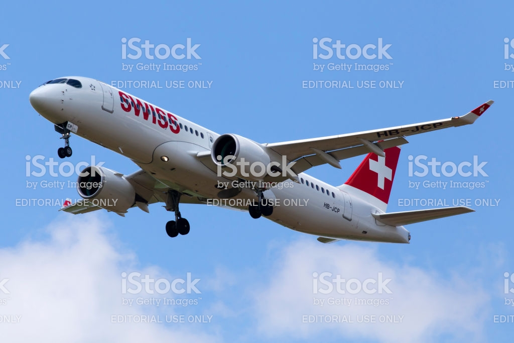 Hbjcp Swiss Airbus A220300 Aircraft On The Cloudy Sky Background 1024x683