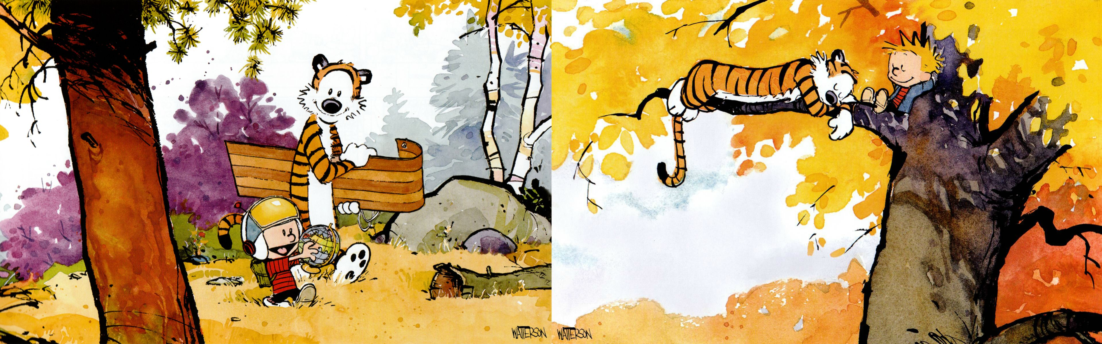 Dual Screen Wallpapers   Calvin and Hobbes   Album on Imgur 3839x1199