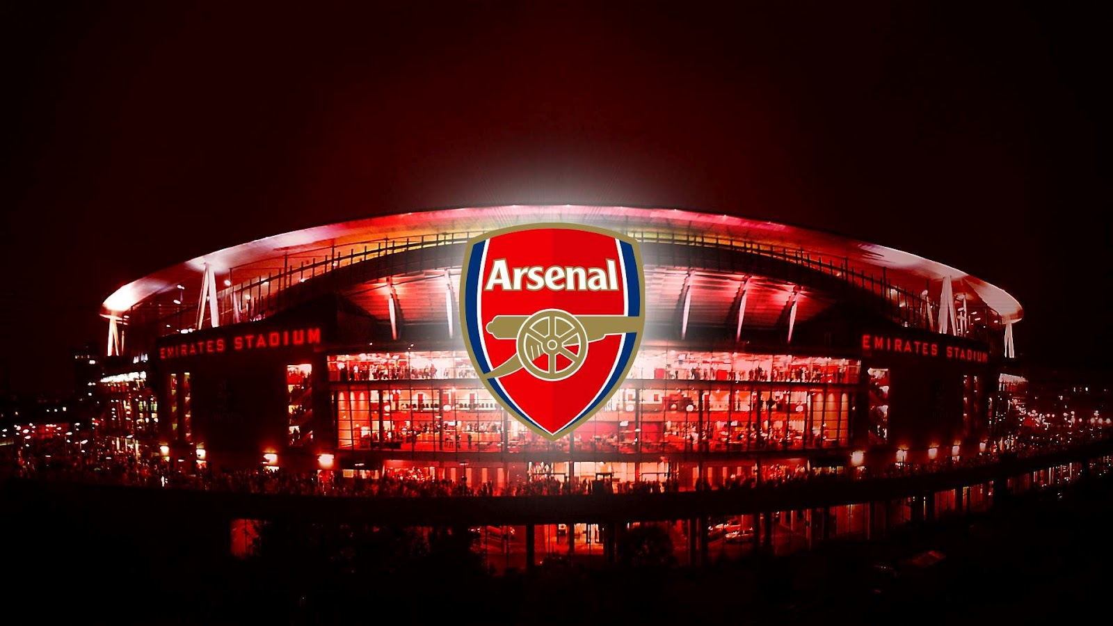 Beautiful Arsenal Logo And Emirates Stadium Image HD Wallpapers 2014 1600x900